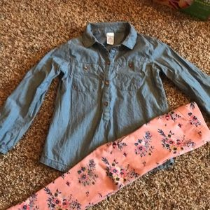 Carters outfit!  Denim with floral legging…